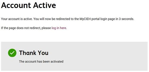 Portal registration account active screen