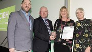 Environmental Health Manager Wendy Brolly and Deputy Mayor Alderman John Smyth collect the Outstanding Environmental Health Team 2018 award on behalf of Antrim and Newtownabbey Borough Council Health and Wellbeing Team.